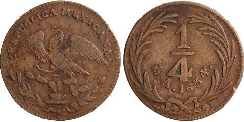 1/4 Real Second Federal Republic of Mexico (1846 - 1863) Kupfer