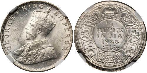 1/4 Rupee Raj Britannico (1858-1947) Argento Giorgio V (1865-1936)