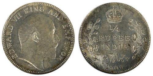 1/4 Rupee Raj Britannico (1858-1947) Argento Edoardo VII (1841-1910)