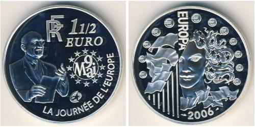 1.5 Евро Пятая французская республика (1958 - ) Серебро