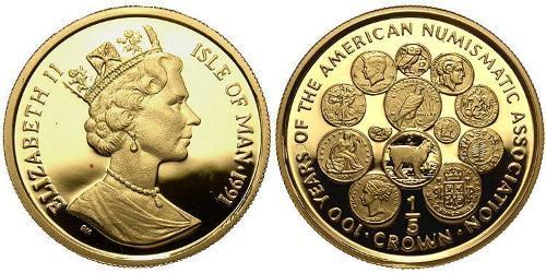 1/5 Crown Isle of Man Gold Elizabeth II (1926-)