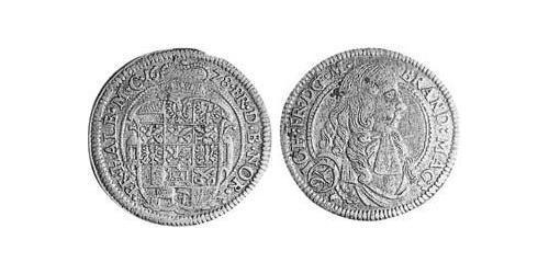 1/6 Thaler Principality of Ansbach (1398–1792) Silver John Frederick, Margrave of Brandenburg-Ansbach (1654 – 1686)