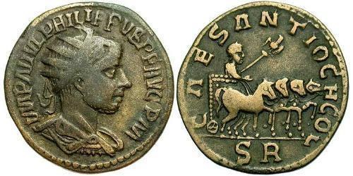 1 AE_ Roman Empire (27BC-395) Bronze Philip II (237-249)