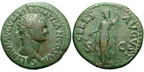 1 As Roman Empire (27BC-395) Bronze Domitian  (51-96)