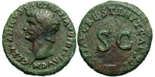 1 As Roman Empire (27BC-395) Bronze Germanicus (15 BC-19AD)