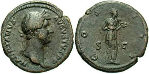 1 As Roman Empire (27BC-395) Bronze Hadrian  (76 - 138)
