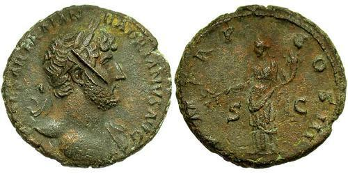 1 As Roman Empire (27BC-395) Bronze Hadrian  (76 - 138)