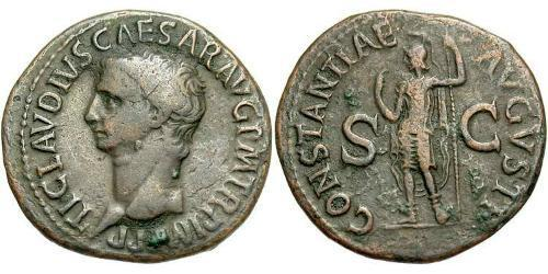 1 As Roman Empire (27BC-395) Bronze Claudius I (10BC-54)