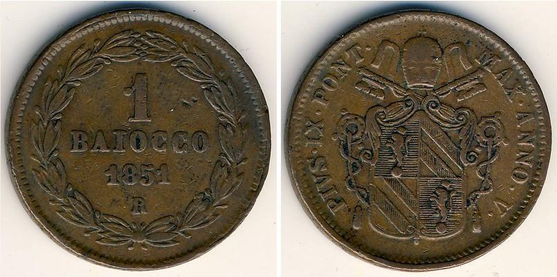 Moneta 1 Baiocco Stato Pontificio (752-1870) Rame 1849 Prezzo