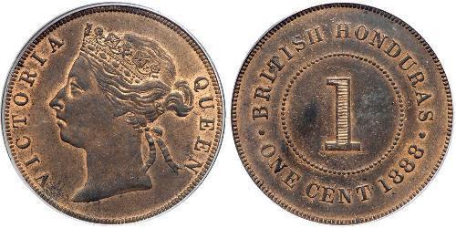 1 Cent British Honduras (1862-1981) Bronzo Vittoria (1819 - 1901)