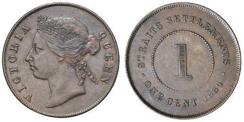 1 Cent Insediamenti dello Stretto (1826 - 1946) Bronzo