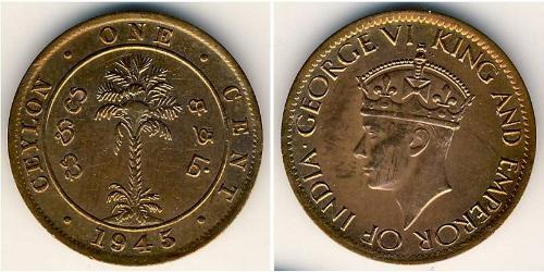 1 Cent Sri Lanka Bronzo Giorgio VI (1895-1952)