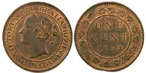 1 Cent Canadá Tin/Cobre/Zinc Victoria (1819 - 1901)