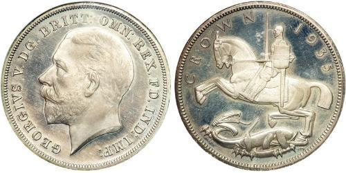 1 Crown 大不列颠及爱尔兰联合王国 (1801 - 1922) 銀 乔治五世  (1865-1936)