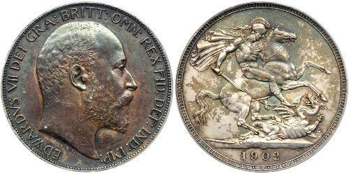 1 Crown 大不列颠及爱尔兰联合王国 (1801 - 1922) 銀 爱德华七世 (1841-1910)