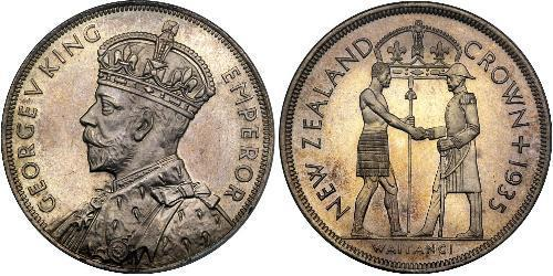 1 Crown 新西兰 銀 乔治五世  (1865-1936)