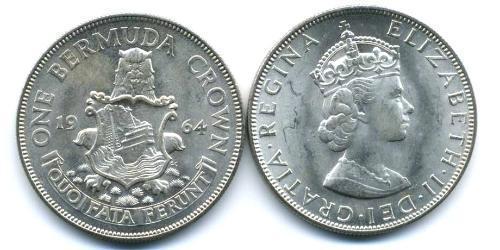 1 Crown Bermudes Argent Elizabeth II (1926-)