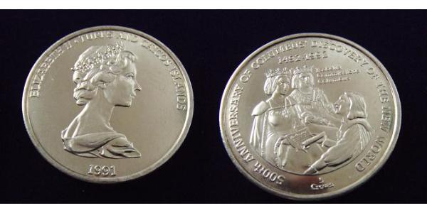 1 Crown Turks- und Caicosinseln Kupfer-Nickel Elizabeth II (1926-)