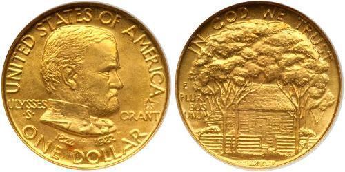1 Dólar Estados Unidos de América (1776 - ) Oro Ulysses S. Grant (1822-1885)