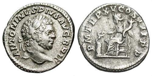1 Denarius Roman Empire (27BC-395) Silver Caracalla (188-217)