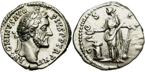 1 Denarius Roman Empire (27BC-395) Silver Antoninus Pius  (86-161)