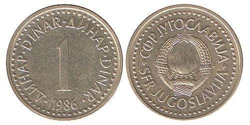 1 Dinar Socialist Federal Republic of Yugoslavia (1943 -1992) Brass/Nickel