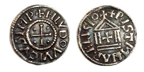 1 Dinaro Frankish Empire (481-843) Plata Ludovico Pío (778-840)