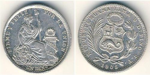 1 Dinero Перу Серебро