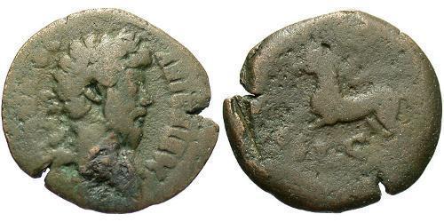 1 Diobol Roman Empire (27BC-395) Bronze Marcus Aurelius (121-180)