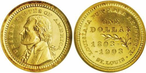 1 Dollar 美利堅合眾國 (1776 - ) 金 Thomas Jefferson (1743-1826)