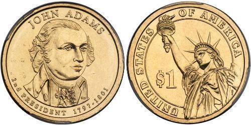 1 Dollar 美利堅合眾國 (1776 - ) 銅/Zinc John Adams (1735-1826)