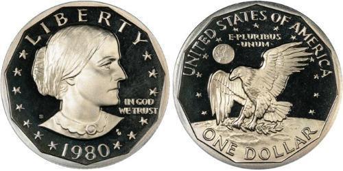1 Dollar 美利堅合眾國 (1776 - ) 銅/镍 Susan Brownell Anthony (1820-1906)
