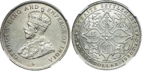 1 Dollar Établissements des détroits (1826 - 1946) Argent George V (1865-1936)