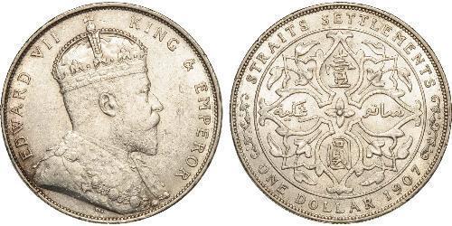 1 Dollaro Insediamenti dello Stretto (1826 - 1946) Argento Edoardo VII (1841-1910)