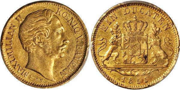 1 Ducat Regno di Baviera (1806 - 1918) Oro Massimiliano II di Baviera(1811 - 1864)