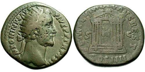 1 Dupondius Roman Empire (27BC-395) Bronze Antoninus Pius  (86-161)