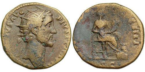 1 Dupondius Roman Empire (27BC-395) Orichalcum Antoninus Pius  (86-161)