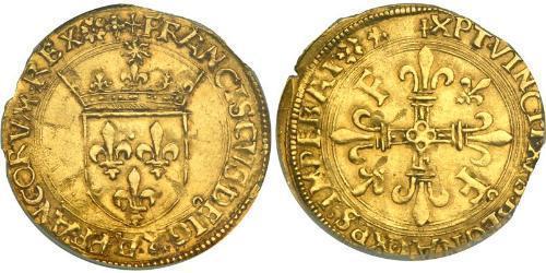 1 Ecu Francia medioevale (843-1791) Oro Francesco I di Francia (1494 - 1547)