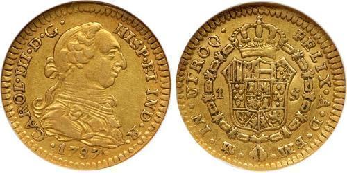 1 Escudo 新西班牙總督轄區 (1535 - 1821) 金 卡洛斯三世 (西班牙) (1716 -1788)