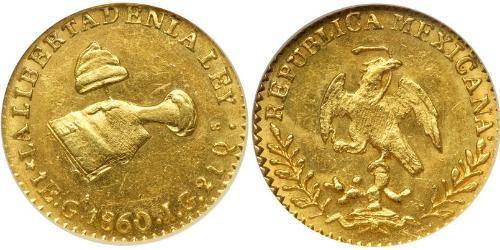 1 Escudo Second Federal Republic of Mexico (1846 - 1863) Gold