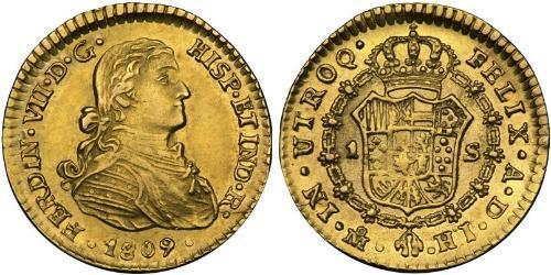 1 Escudo Spanish Mexico  / Kingdom of New Spain (1519 - 1821) Gold Ferdinand VII of Spain (1784-1833)