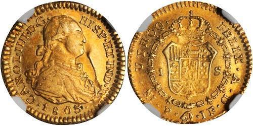 1 Escudo Vice-royauté de Nouvelle-Grenade (1717 - 1819) Or Charles IV d