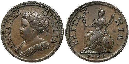 1 Farthing 大不列顛王國 (1707 - 1800) 銅 安妮 (英国女王) (1665-1714)