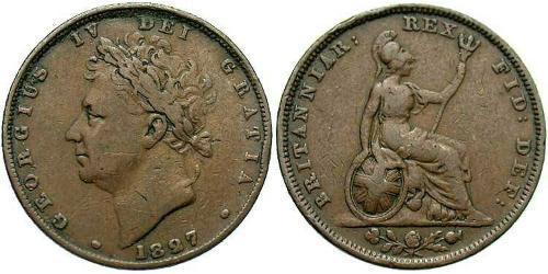 1 Farthing United Kingdom of Great Britain and Ireland (1801-1922) Copper George IV (1762-1830)