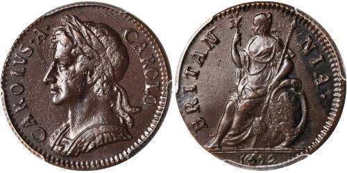 1 Farthing Königreich England (927-1649,1660-1707) Kupfer Karl II (1630-1685)