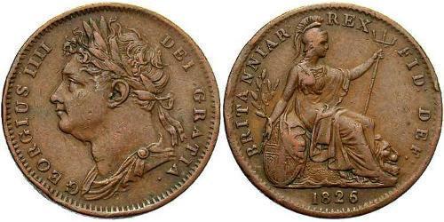 1 Farthing Vereinigtes Königreich von Großbritannien und Irland (1801-1922) Kupfer Georg IV (1762-1830)