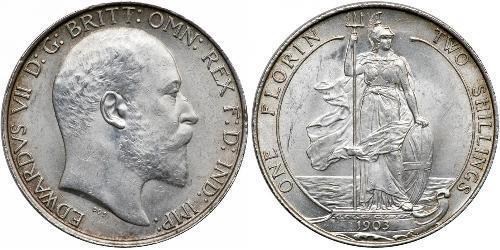 1 Florin 大不列颠及爱尔兰联合王国 (1801 - 1922) 銀 爱德华七世 (1841-1910)