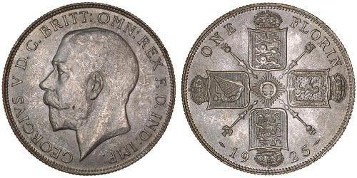 1 Florin 大不列颠及爱尔兰联合王国 (1801 - 1922) 銀 乔治五世  (1865-1936)