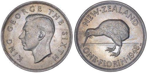 1 Florin 新西兰 銅/镍 乔治六世 (1895-1952)