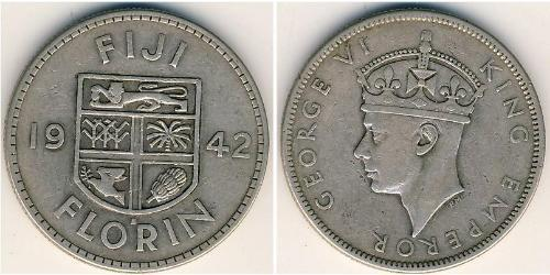 1 Florin Figi Argento Giorgio VI (1895-1952)